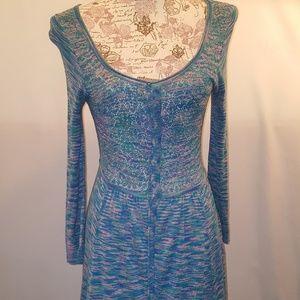 Free People Turquoise& Purple Knit Maxi Dress